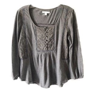American Eagle Gray LS Embroidered Top K2